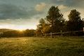 Beautiful sunrise on the farm
