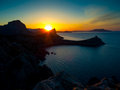 Beautiful sunrise near novyi svet crimea ukraine Stock Photos