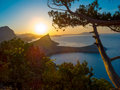 Beautiful sunrise near novyi svet crimea ukraine Royalty Free Stock Images