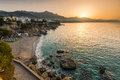 Beautiful sunrise over beach in Nerja,Andalusia,Spain Royalty Free Stock Photo
