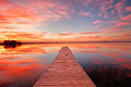 Beautiful sunrise over a Colorado fishing dock Royalty Free Stock Photo