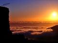 Beautiful sunrise over the sea of clouds