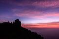 Beautiful sunrise scene at peak of mokoju mountain at sunset kamphaeng phet thailand Stock Photos