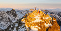Beautiful sunrise on the top of Rysy in Tatras
