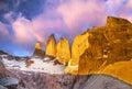 Beautiful sunrise in Torres del Paine national park, Patagonia.