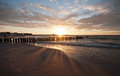 Beautiful sunset at baltic beach in poland ustka Royalty Free Stock Photography