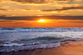 Beautiful sunset on the beach sea Stock Photography