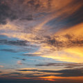 Beautiful sunset on blue sky Royalty Free Stock Images