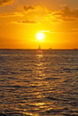 Beautiful sunset with boat on ocean on Hawaii Royalty Free Stock Photo
