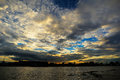 Beautiful sunset and the clouds with river Royalty Free Stock Photo
