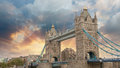Beautiful sunset colors over famous tower bridge in london Stock Photography