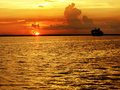 Beautiful Sunset with Cruise Ship Royalty Free Stock Photo