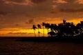 Beautiful sunset on Hawaii tropical beach Royalty Free Stock Photo