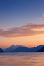 Beautiful sunset landscape on fjord with at the with clouds norway Stock Images