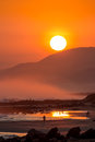 Beautiful Sunset with Large Round Sun Royalty Free Stock Photo