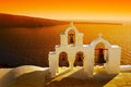 Beautiful sunset in oia santorini island village greece Stock Photography