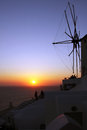 Beautiful sunset in oia santorini island village greece Stock Images