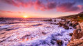 Beautiful sunset over California coast Royalty Free Stock Photo