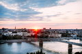 Beautiful sunset over Danube river and Novi Sad City with rainbow bridge Royalty Free Stock Photo