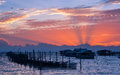 Beautiful sunset over fisherman village Royalty Free Stock Photography
