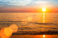 Beautiful sunset over ocean, nature composition. Travel. Royalty Free Stock Photo