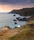 Beautiful sunset over secluded natural cove vibrant Stock Photo