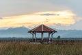 Beautiful sunset with pavilion in Sam Roi Yot National Park ,Pra Royalty Free Stock Photo