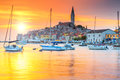 Beautiful sunset with Rovinj harbor,Istria region,Croatia,Europe Royalty Free Stock Photo