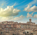 Beautiful sunset in san gimignano medieval village tuscany it italy Royalty Free Stock Photo