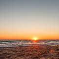 A beautiful sunset on a sandy beach in Kacha. Royalty Free Stock Photo