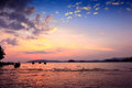 Beautiful sunset silhouette longtail boat at beach krabi thailand Royalty Free Stock Photography