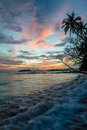 Beautiful sunset sky with the beauty beach from Koh Mak island, Royalty Free Stock Photo