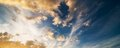 Beautiful sunset sky panoramic with clouds Stock Photo