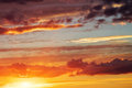 Beautiful sunset sky with sun background Royalty Free Stock Photos