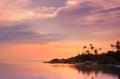 Beautiful sunset on a tropical beach in thailand koh phangan Stock Photos