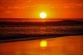Beautiful sunsets of playa el cuco el salvador Stock Photos