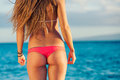 Beautiful surfer girl in sexy bikini Royalty Free Stock Photos