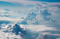 Beautiful surreal skyscape from airplane castles in the air Royalty Free Stock Photo