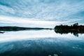 Beautiful swedish lake landscape at dusk a view of a typical summer location falun dalarna stora vallan Stock Photo