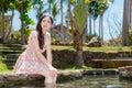 Beautiful sweet lady wearing summer dress Royalty Free Stock Photo
