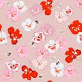 Beautiful sweet pansy flower seamless pattern in vector with dragonfly and bumble bess ,Design for fashion,fabric,web,wallpaper,