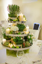 Beautiful table set for green wedding or event party indoors with big flower and candle arrangement Stock Photos