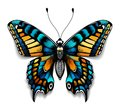 Beautiful tattoo for your chest. Blue Machaon butterfly. Tropical realistic butterfly with shadow. Female symbol Royalty Free Stock Photo