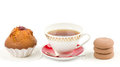 Beautiful tea set with cupcakes Royalty Free Stock Photo