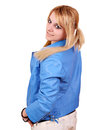 Beautiful teenage girl in blue jacket Stock Images
