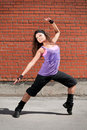 Beautiful teenage girl dancing hip-hop Royalty Free Stock Image