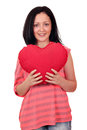 Beautiful teenage girl with heart Stock Photo
