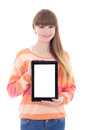 Beautiful teenage girl holding tablet computer with copyspace is isolated on white background Royalty Free Stock Photo