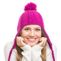 Beautiful teenage girl wearing magenta winter hat young caucasian pink knitted smiling looking at camera against isolated white Royalty Free Stock Photos