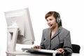 Beautiful telephone operator on white background Royalty Free Stock Images